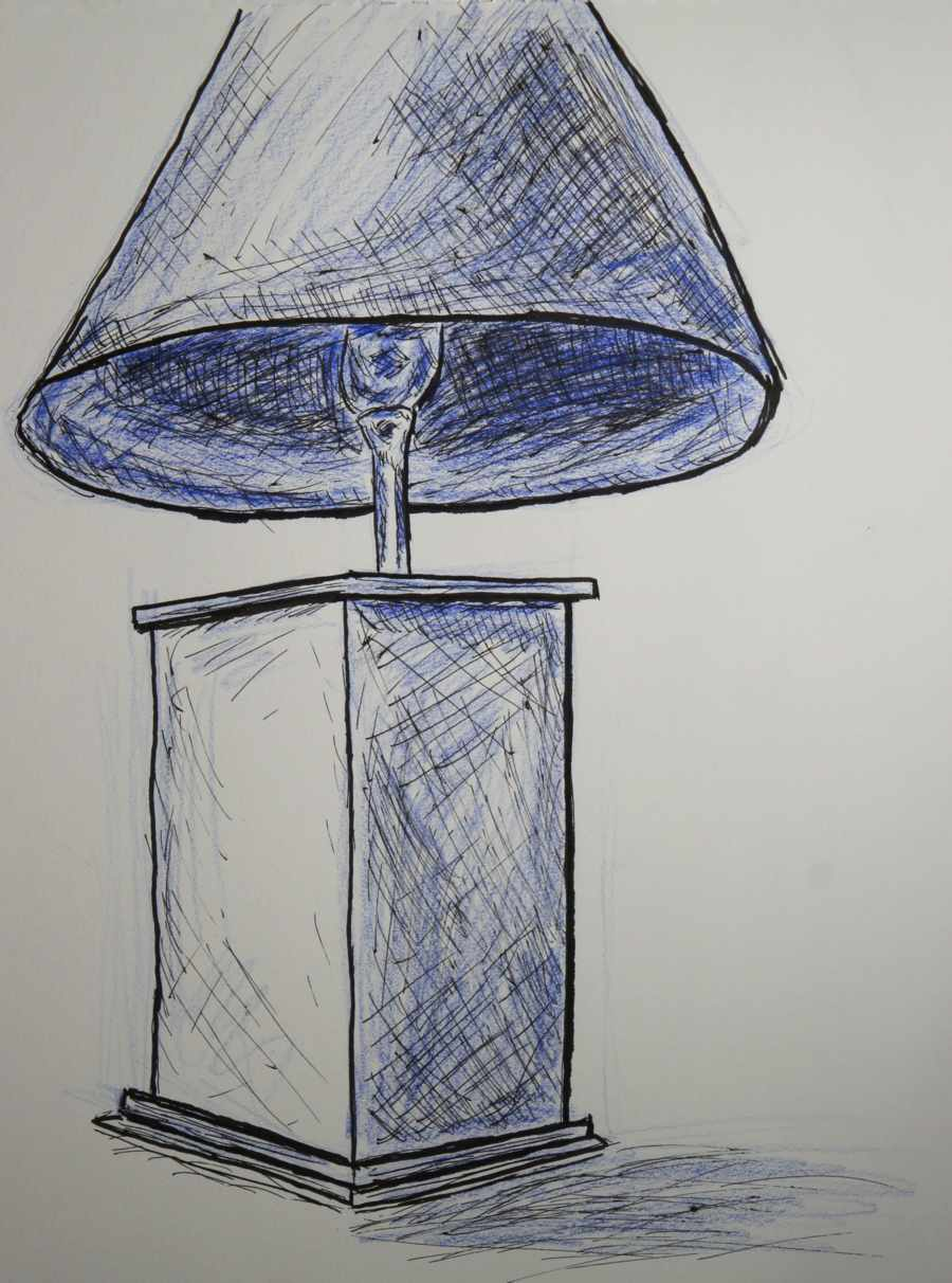 Pen And Blue Colored Pencil Drawing Of A Bedroom Table Lamp