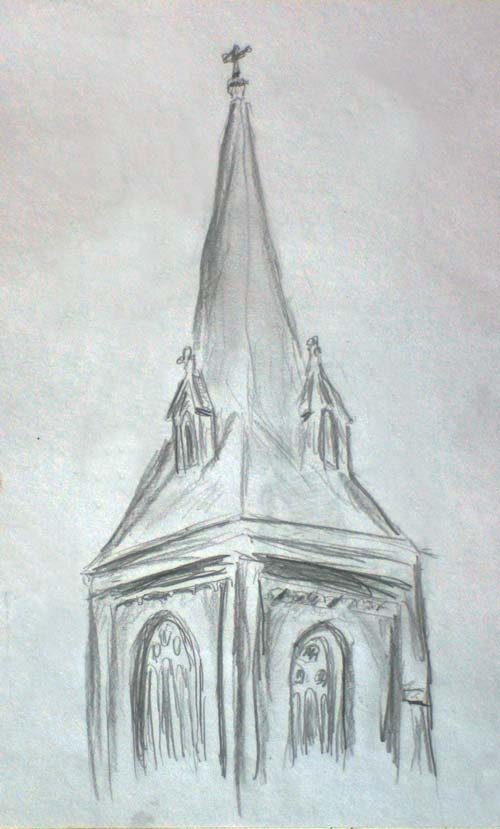 Pencil sketch of the Church of the Incarnation