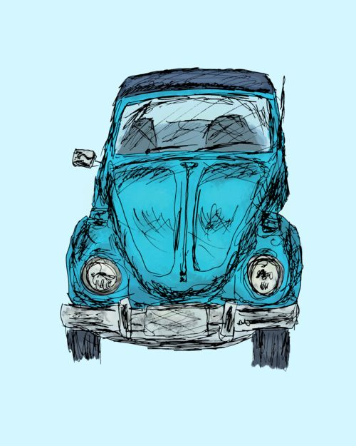 Digital painting of a classic beetle convertible