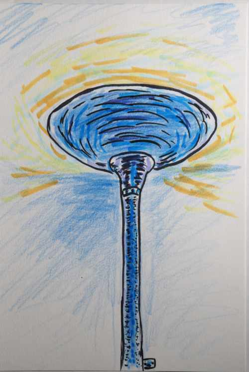 Copic marker drawing of a torch lamp
