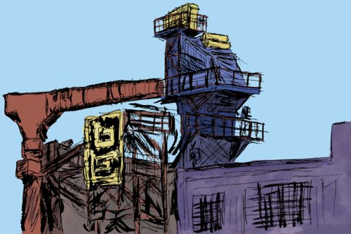 Digital painting of an asphalt factory