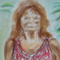 Dry pastel drawing of a woman